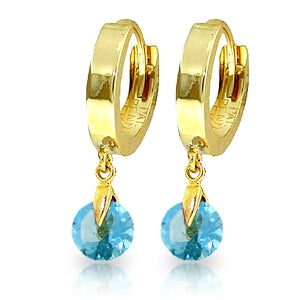 2 Carat 14K Solid Yellow Gold Hoop Earrings Natural Blue Topaz
