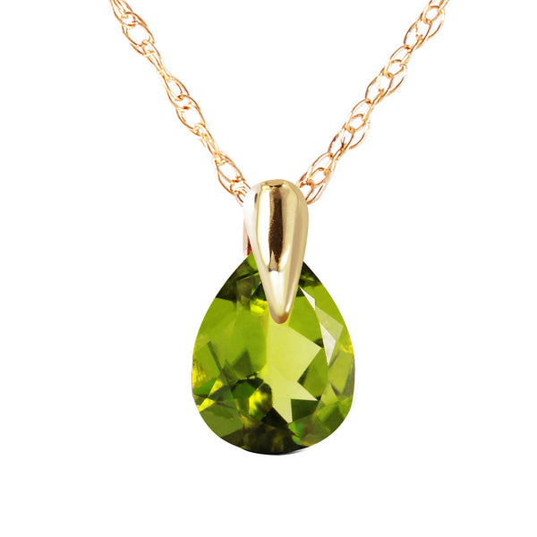 0.68 Carat 14K Solid Yellow Gold Fond Kiss Peridot Necklace