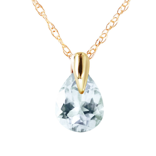 0.68 Carat 14K Solid Yellow Gold Necklace Natural Aquamarine
