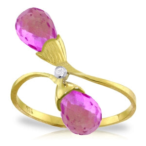 2.52 Carat 14K Solid Yellow Gold Ring Diamond Briolette Pink Topaz