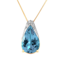 6 Carat 14K Gold Lacuna Blue Topaz Necklace