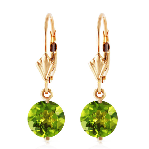 3.1 Carat 14K Solid Yellow Gold Charmed Life Peridot Earrings