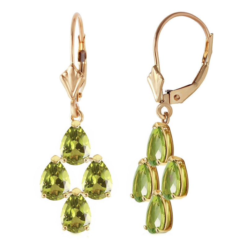 4.5 Carat 14K Solid Yellow Gold Parisienne Peridot Earrings