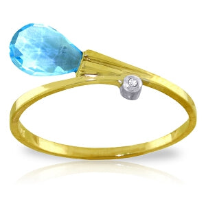 1.51 Carat 14K Solid Yellow Gold Ring Diamond Briolette Blue Topaz