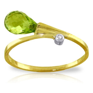 1.51 Carat 14K Solid Yellow Gold That Ain't Love Peridot Diamond Ring