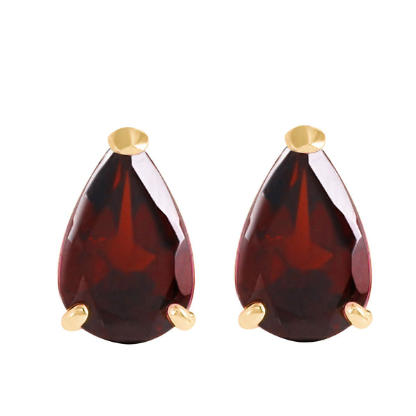 3.15 Carat 14K Solid Yellow Gold Stud Earrings Natural Garnet