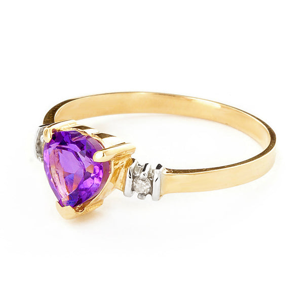 0.98 Carat 14K Solid Yellow Gold Ring Natural Purple Amethyst Diamond