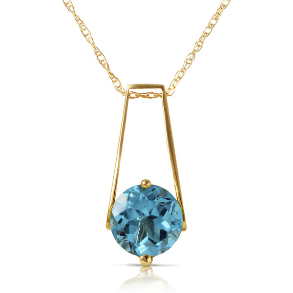 1.45 Carat 14K Solid Yellow Gold Love At First Light Blue Topaz Necklace