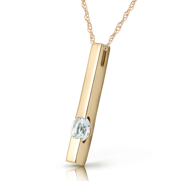 0.25 Carat 14K Solid Yellow Gold Raise The Bar Aquamarine Necklace