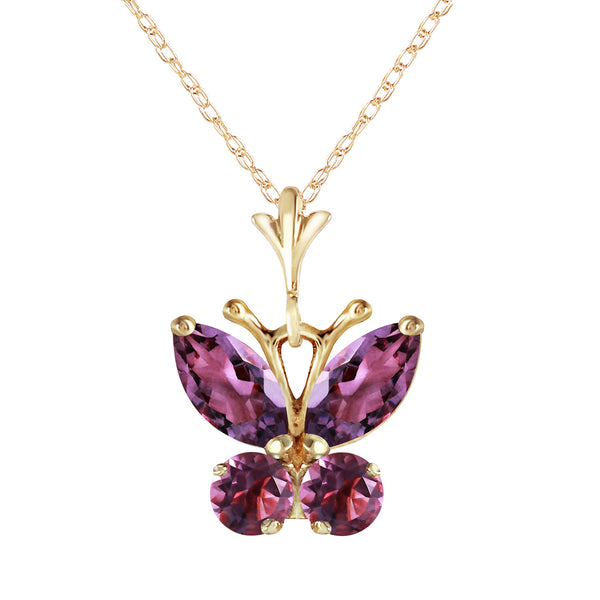 0.6 Carat 14K Solid Yellow Gold Butterfly Necklace Purple Amethyst