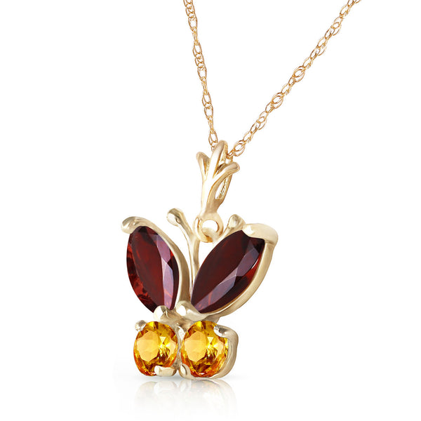 0.6 Carat 14K Solid Yellow Gold Butterfly Necklace Garnet Citrine