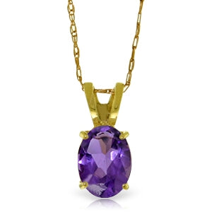 0.85 Carat 14K Solid Yellow Gold Just Us Amethyst Necklace