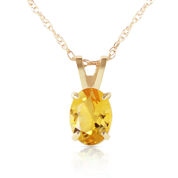 0.85 Carat 14K Solid Yellow Gold Edge Of Reason Citrine Necklace