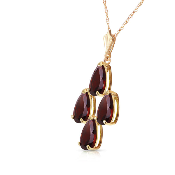 1.5 Carat 14K Solid Yellow Gold Vine Burst Garnet Necklace