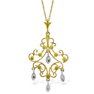 0.02 Carat 14K Solid Yellow Gold Chandelier Necklace Diamond