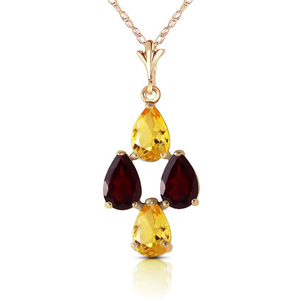 1.5 Carat 14K Gold Twinkling Garnet Citrine Necklace