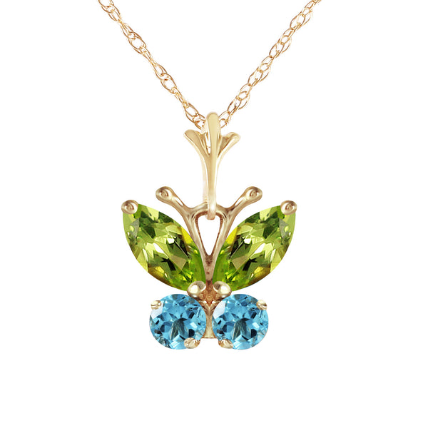 0.6 Carat 14K Solid Yellow Gold Butterfly Necklace Blue Topaz Peridot