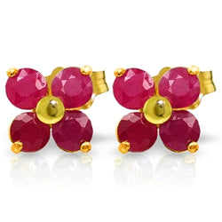 1.15 Carat 14K Solid Yellow Gold We Are Serious Ruby Earrings