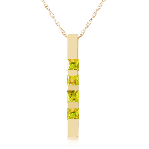 0.35 Carat 14K Solid Yellow Gold Necklace Bar Natural Peridot