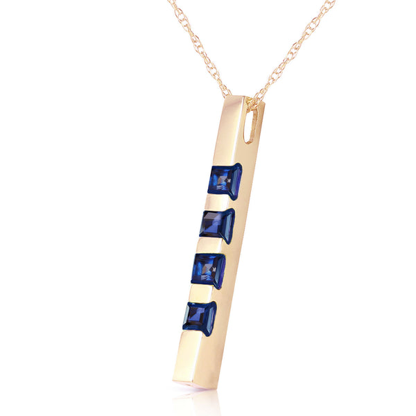 0.35 Carat 14K Solid Yellow Gold Necklace Bar Natural Sapphire
