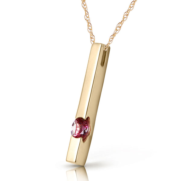 0.25 Carat 14K Solid Yellow Gold Sweetest Success Pink Topaz Necklace