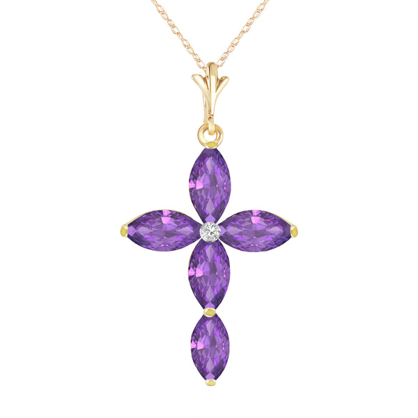 1.23 Carat 14K Solid Yellow Gold Necklace Natural Diamond Purple Amethyst