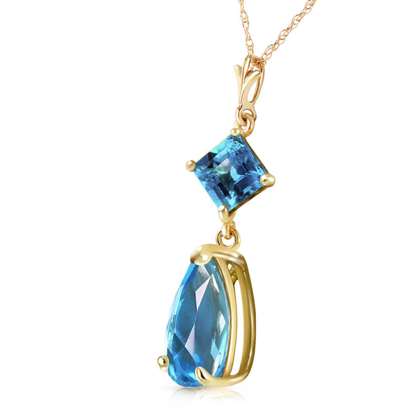 2 Carat 14K Solid Yellow Gold To Love Again Blue Topaz Necklace