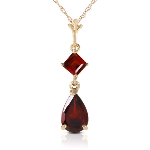 2 Carat 14K Solid Yellow Gold Love Under The Rain Garnet Necklace