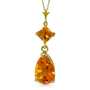 2 Carat 14K Solid Yellow Gold Dance Me Citrine Necklace