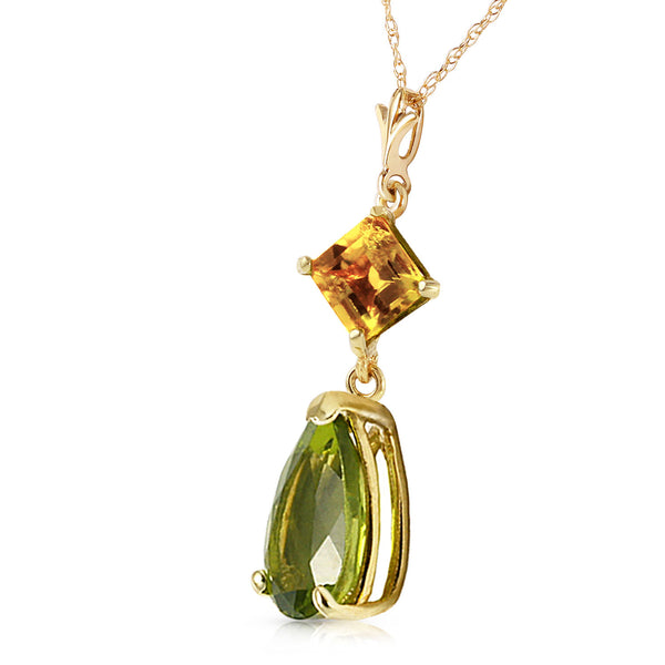 2 Carat 14K Solid Yellow Gold Necklace Natural Citrine Peridot