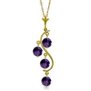 2.25 Carat 14K Solid Yellow Gold Love Loving You Amethyst Necklace