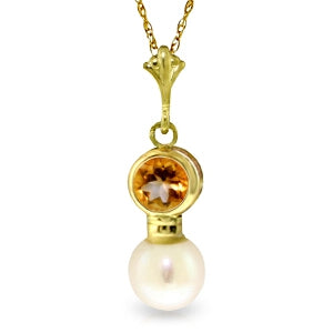 1.23 Carat 14K Solid Yellow Gold Sunny Rays Citrine Pearl Necklace