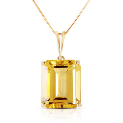 6.5 Carat 14K Solid Yellow Gold Necklace Octagon Citrine