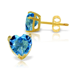 3.25 Carat 14K Solid Yellow Gold East Of Eternity Blue Topaz Earrings