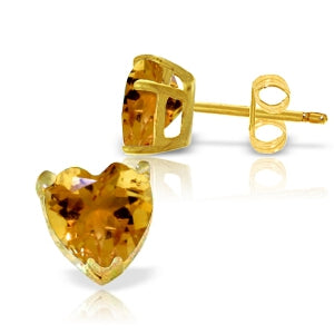 3.25 Carat 14K Solid Yellow Gold Stud Earrings Natural Citrine