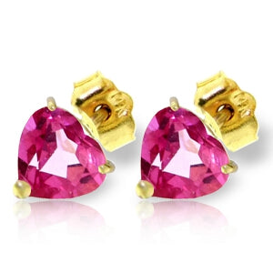 3.25 Carat 14K Solid Yellow Gold Stud Earrings Natural Pink Topaz