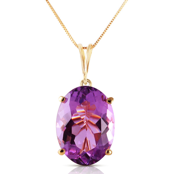 7.55 Carat 14K Solid Yellow Gold Necklace Oval Purple Amethyst