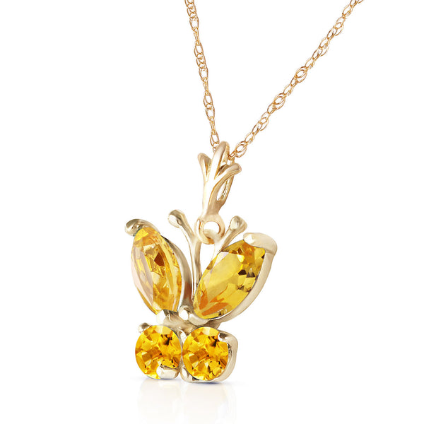 0.6 Carat 14K Solid Yellow Gold Butterfly Necklace Citrine