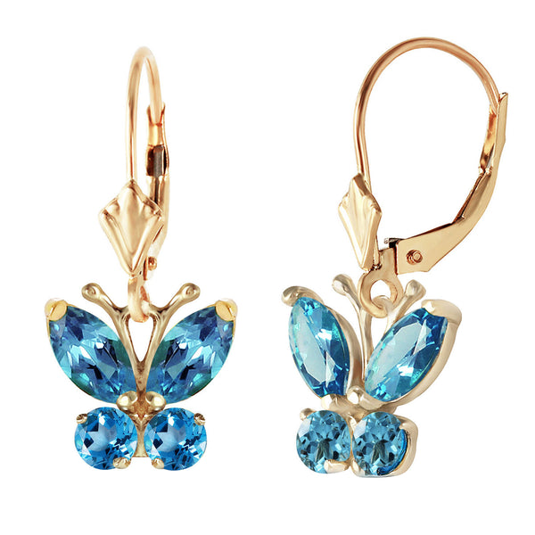 1.24 Carat 14K Solid Yellow Gold Butterfly Earrings Blue Topaz