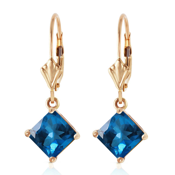 3.2 Carat 14K Solid Yellow Gold Demeter Blue Topaz Earrings
