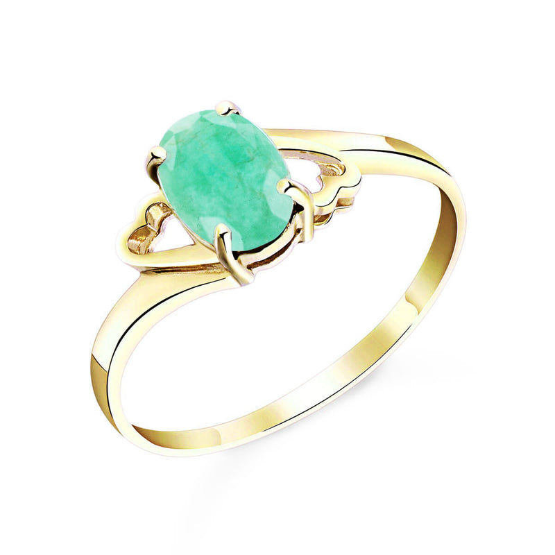 0.75 Carat 14K Solid Yellow Gold Rings Natural Emerald