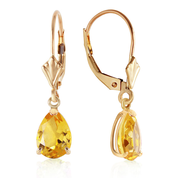 2.85 Carat 14K Solid Yellow Gold Extravaganza Citrine Earrings