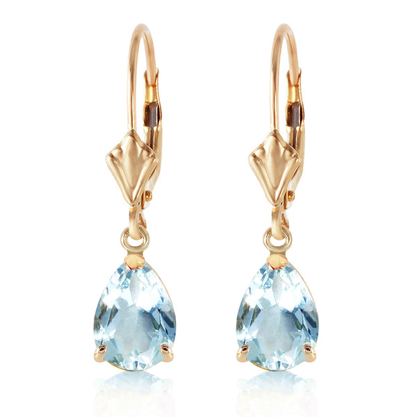 2.85 Carat 14K Solid Yellow Gold Extravaganza Aquamarine Earrings