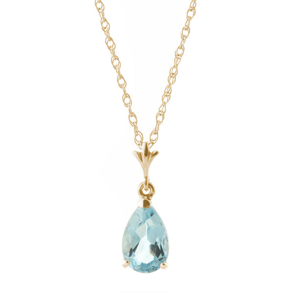 1.5 Carat 14K Solid Yellow Gold Duration Of Love Aquamarine Necklace