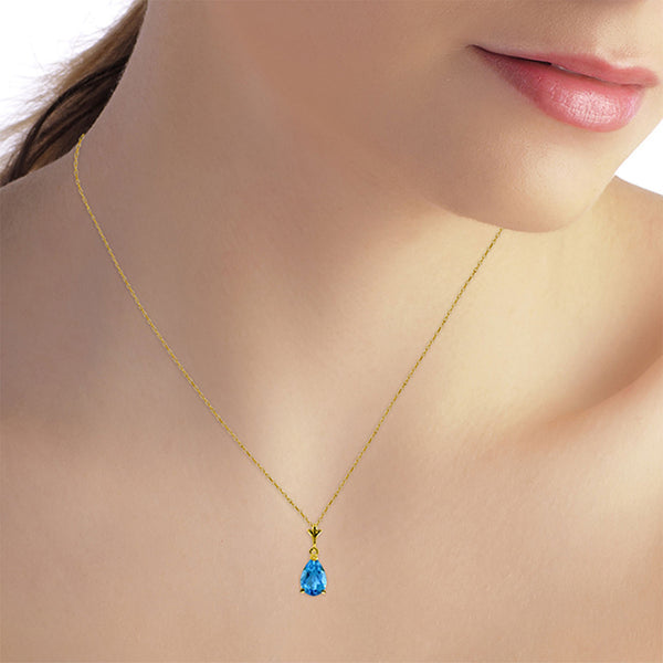 1.5 Carat 14K Solid Yellow Gold Life Is Everywhere Blue Topaz Necklace