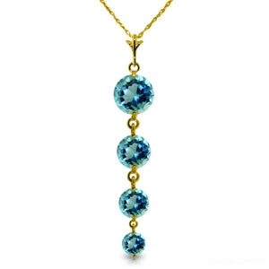 3.9 Carat 14K Solid Yellow Gold Happy Dreams Blue Topaz Necklace