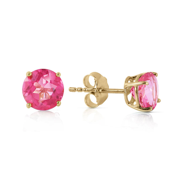 1.3 Carat 14K Solid Yellow Gold Pink In June Pink Topaz Earrings