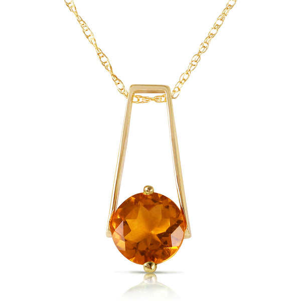1.45 Carat 14K Solid Yellow Gold Privacy Citrine Necklace