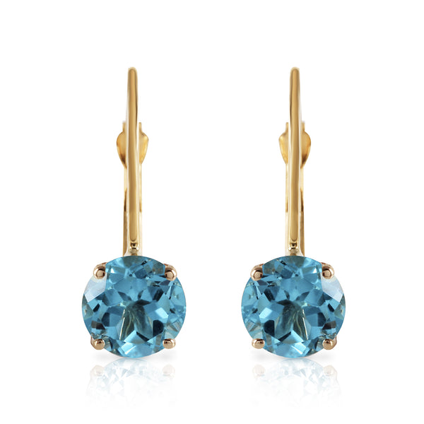 1.2 Carat 14K Solid Yellow Gold Iris Blue Topaz Earrings