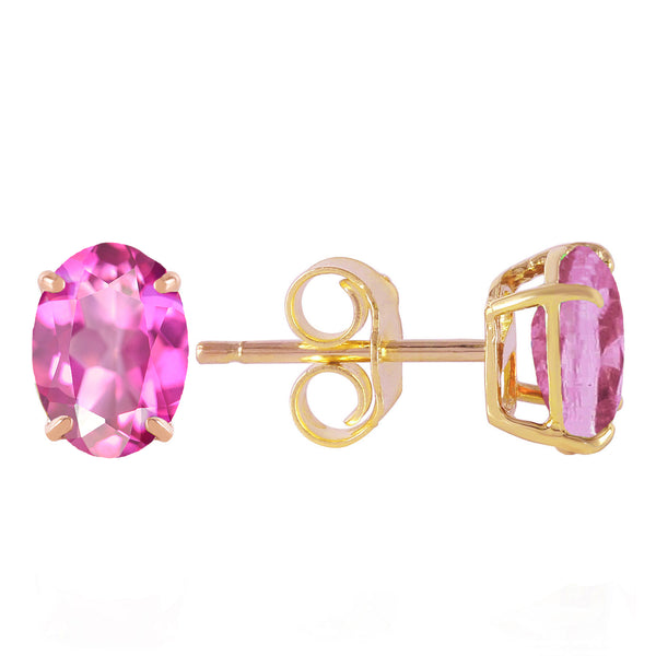 1.8 Carat 14K Solid Yellow Gold Falling In Love Again Pink Topaz Earrings